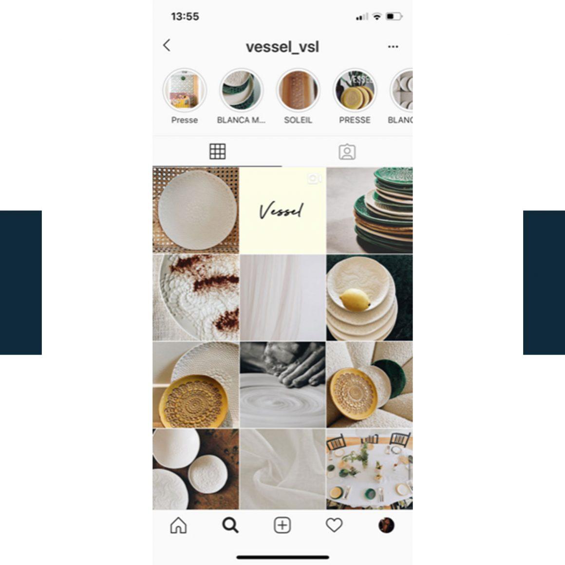 Capture d'écran du compte Instagram de la marque VESSEL