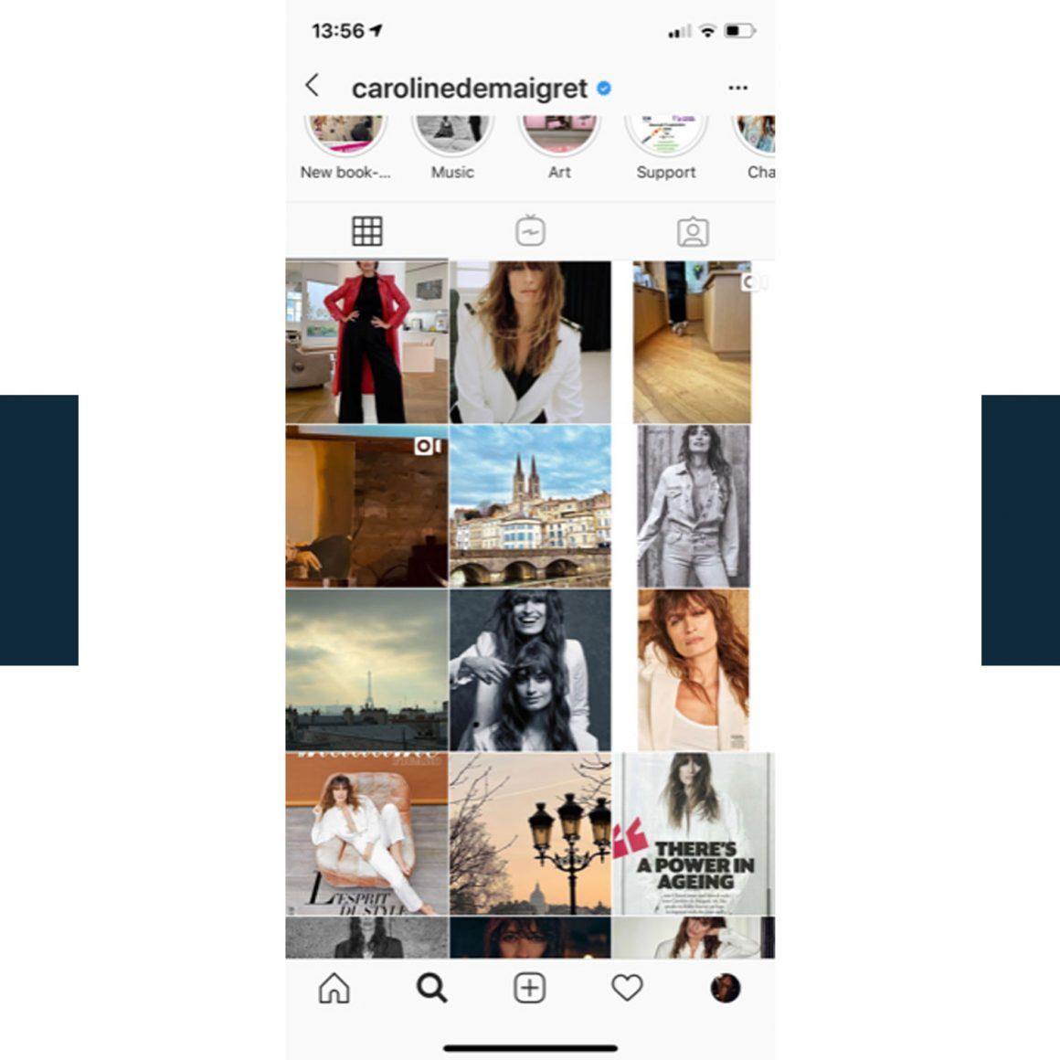 Capture d'écran du compte Instagram de Caroline de Maigret