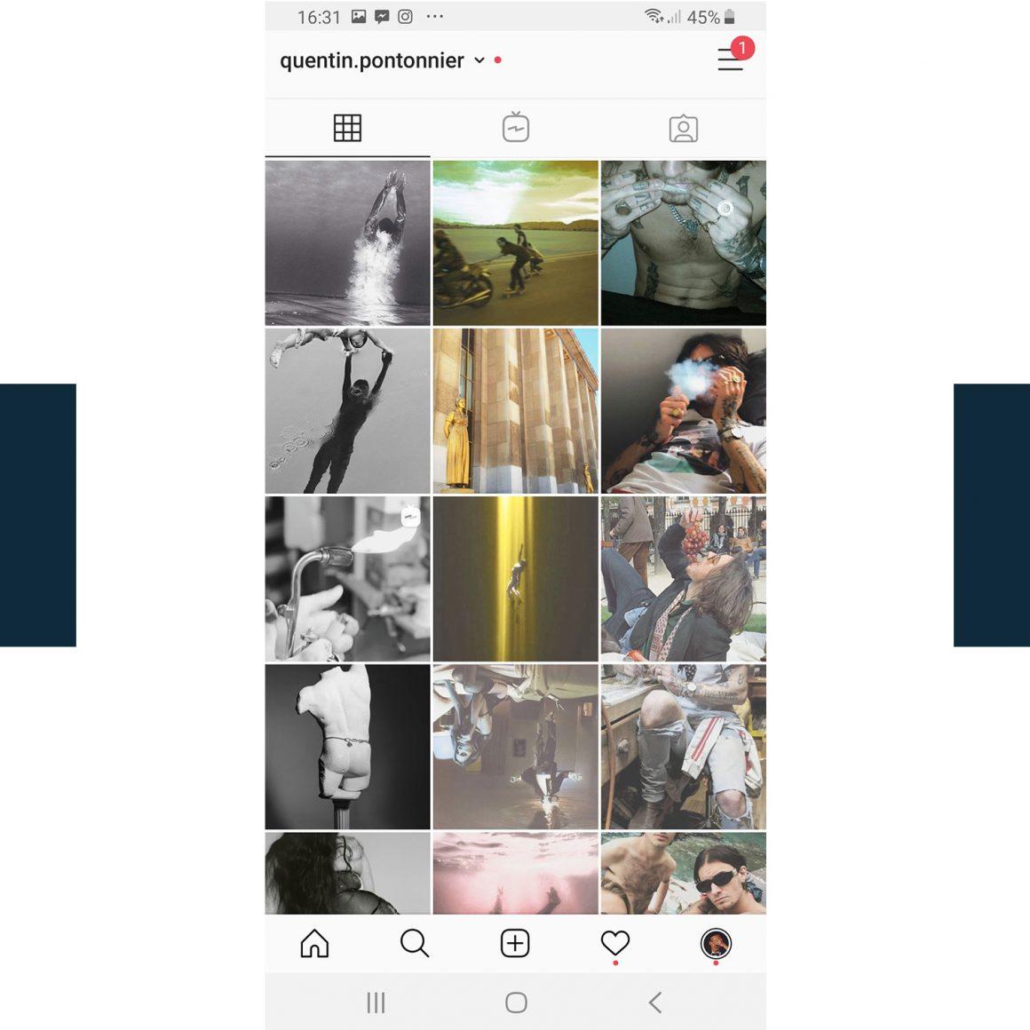 Capture d'écran du compte Instagram de Quentin Pontonnier