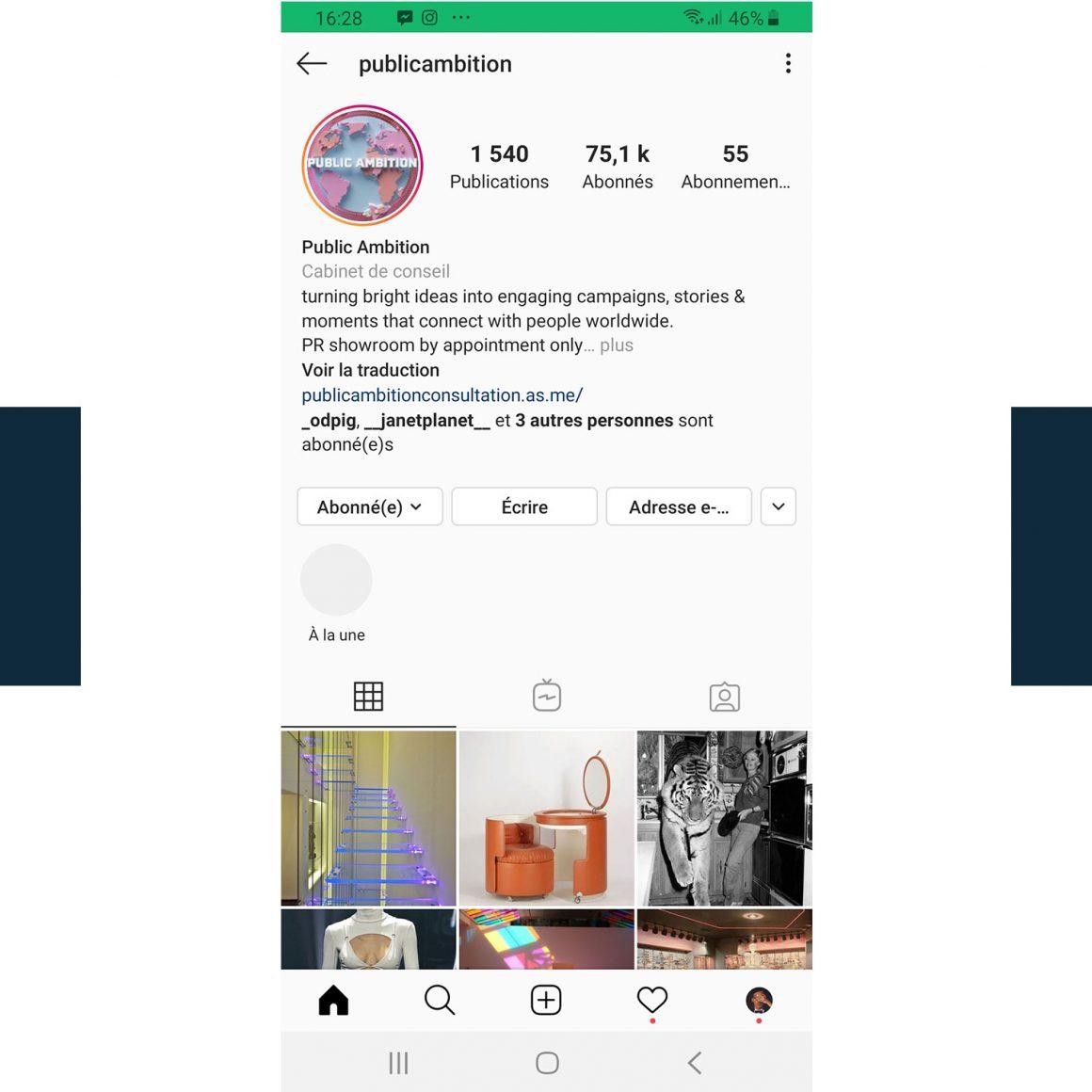 Capture d'écran du compte Instagram @publicambition