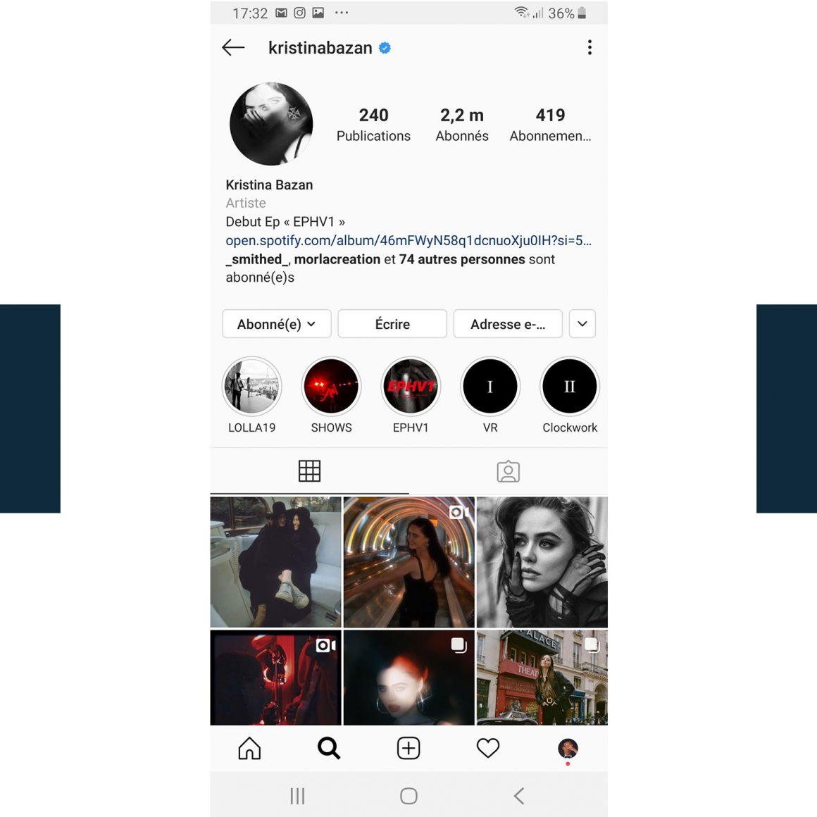 Capture d'écran du compte Instagram de Kristina Bazan