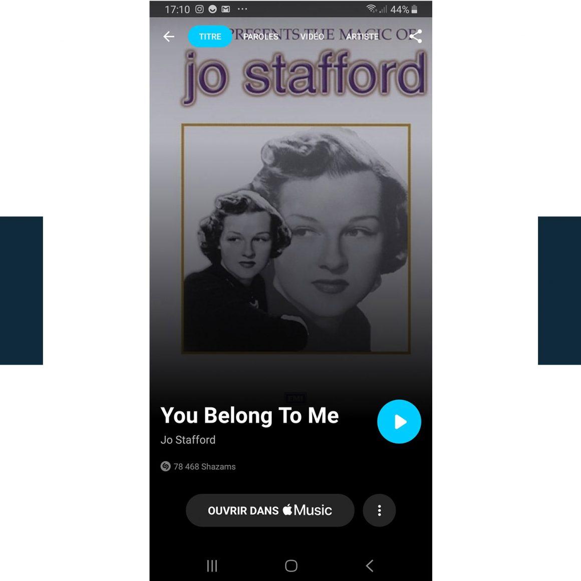Capture d'écran du titre You belong to me de Jo Stafford sur Shazam