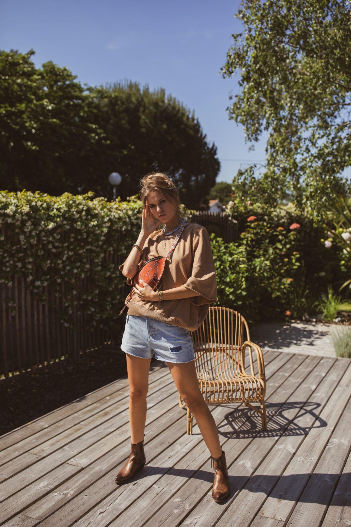 Look estival avec sac banane Isabel Marant