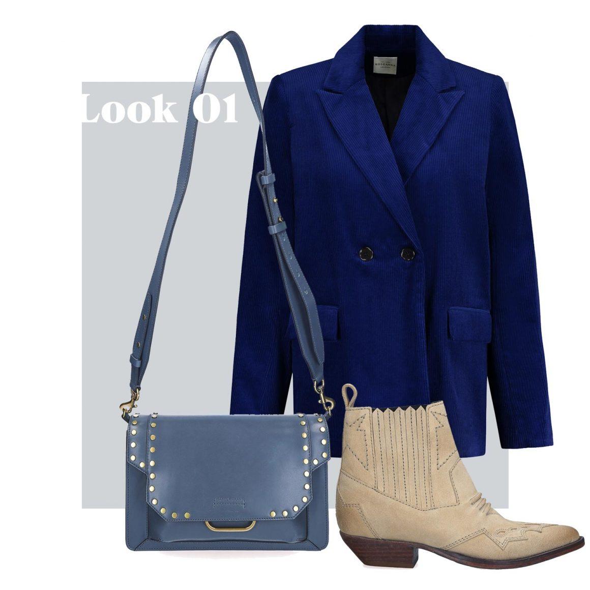 Sac à main Isabel Marant, blazer et boots Roseanna
