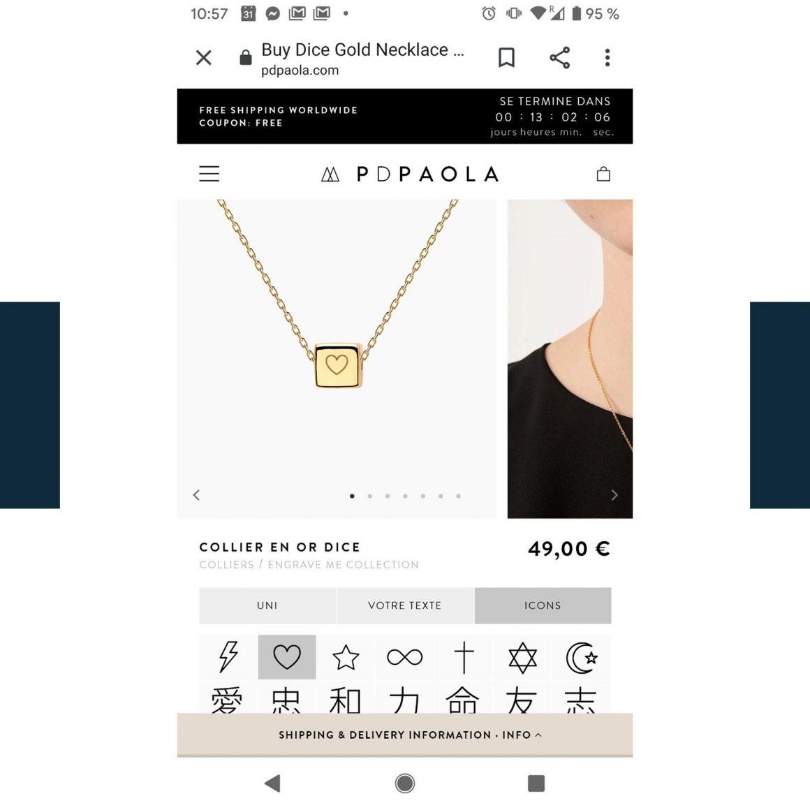 Capture d'écran d'un collier sur PDPAOLA