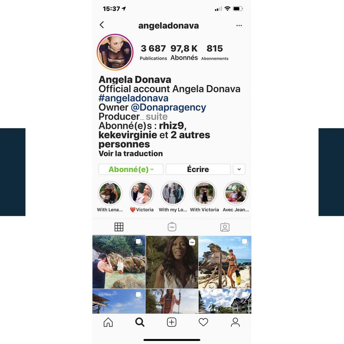 Capture d'écran du compte Instagram d'Angela Donava