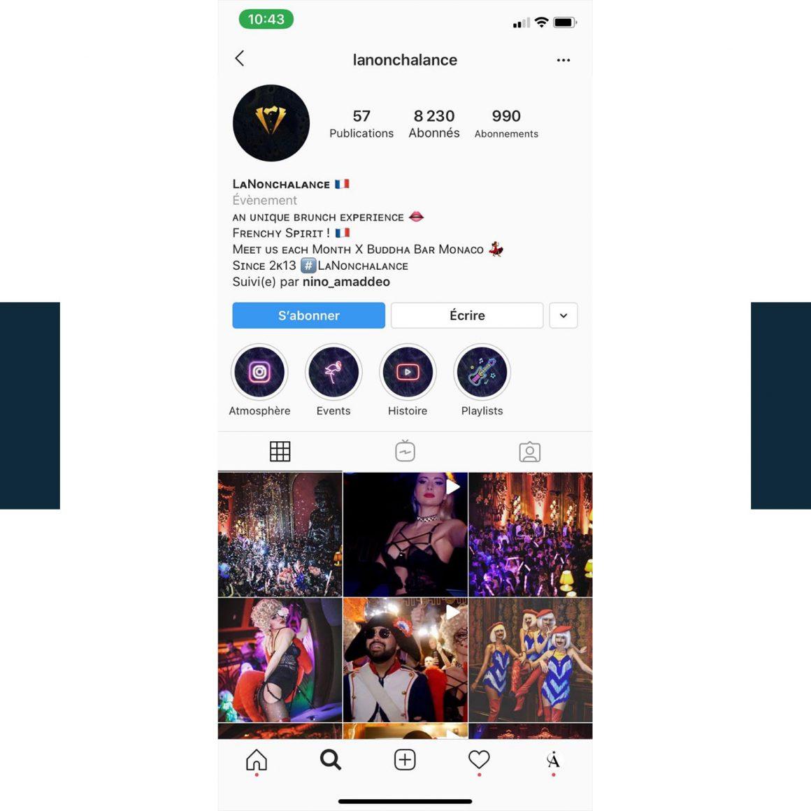 Capture d'écran du compte Instagram @lanonchalance