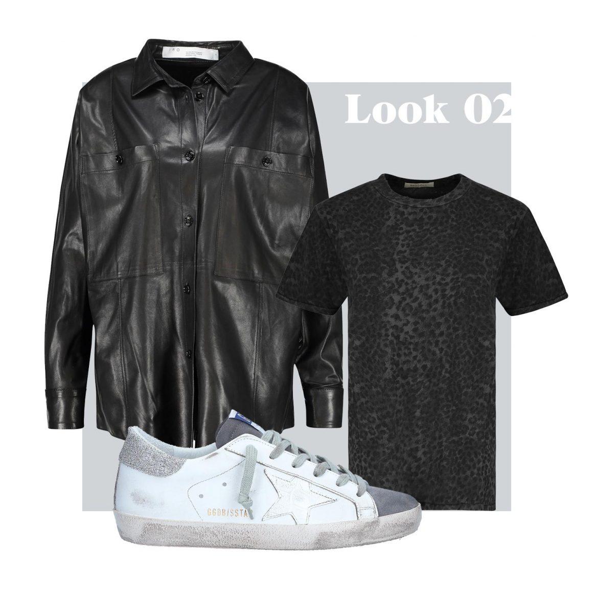 Chemise cuir IRO, Tee-shirt Ragdoll LA et sneakers Golden Goose