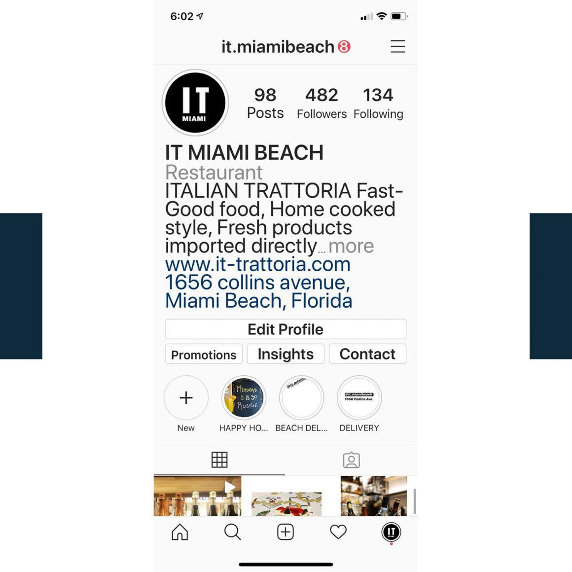 Capture d'écran du compte Instagram du restaurant IT Miami Beach