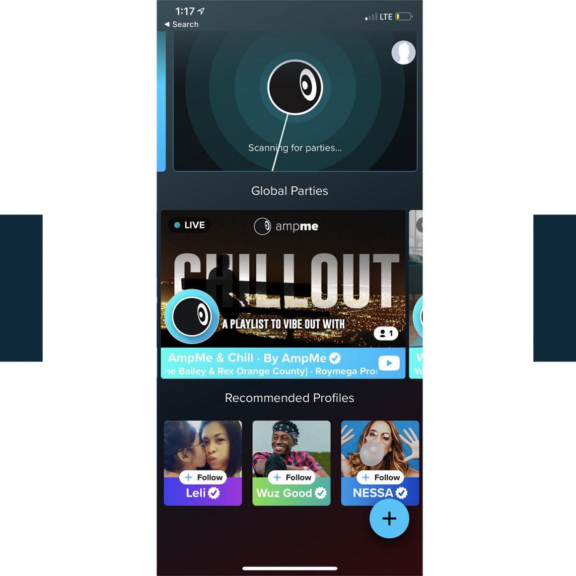 Capture d'écran de l'application mobile AmpMe