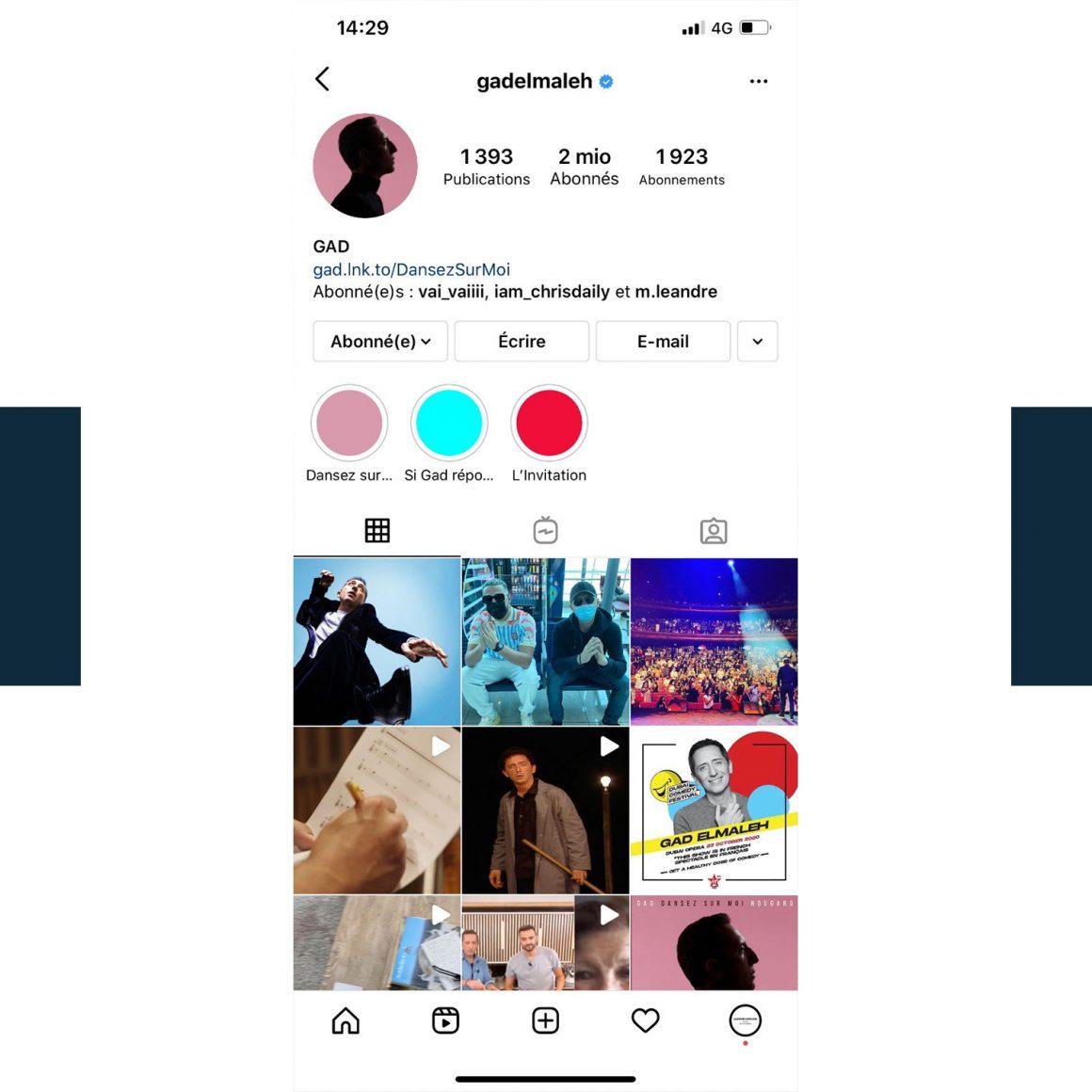 Capture d'écran du compte Instagram de Gad Elmaleh