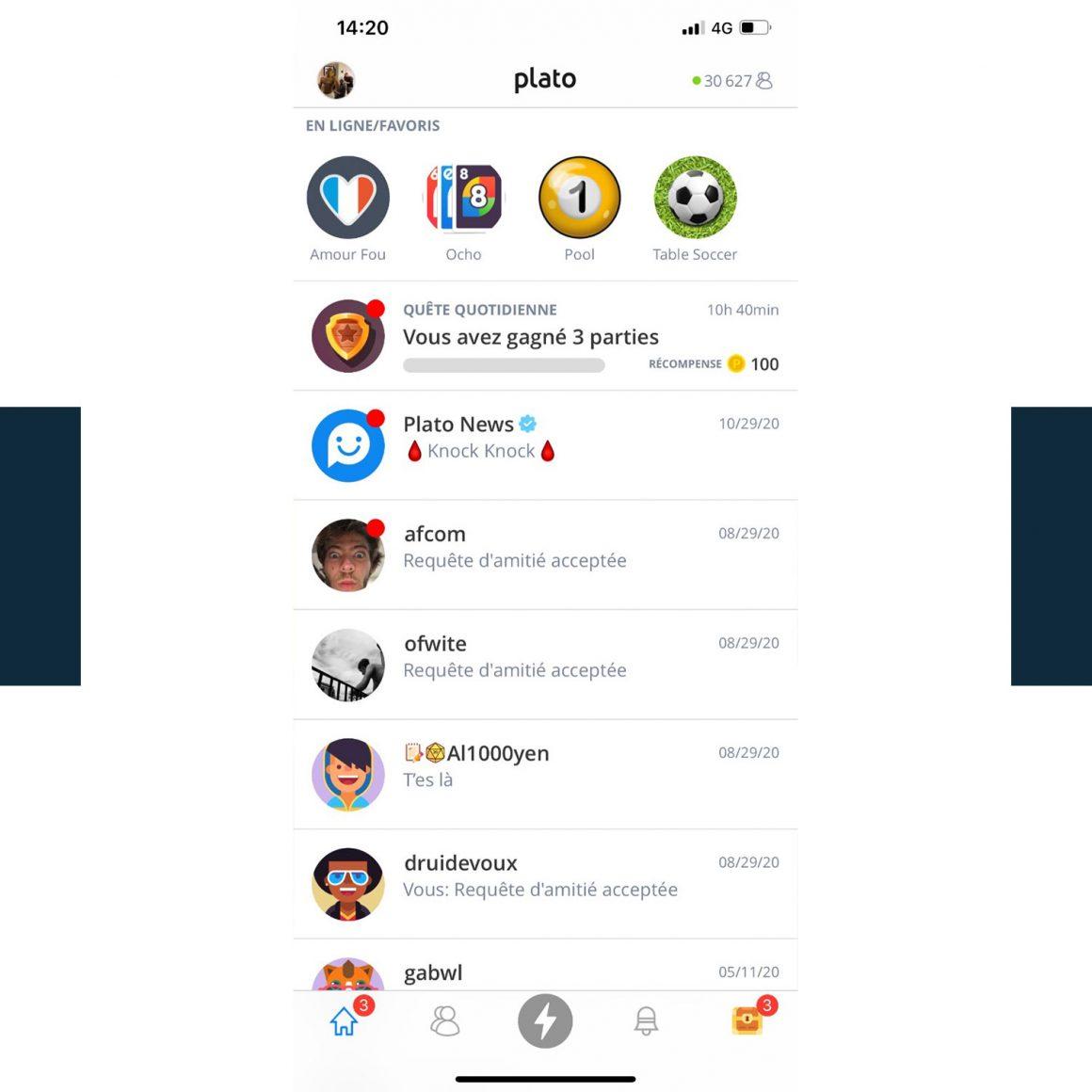 Capture d'écran de l'application mobile Plato