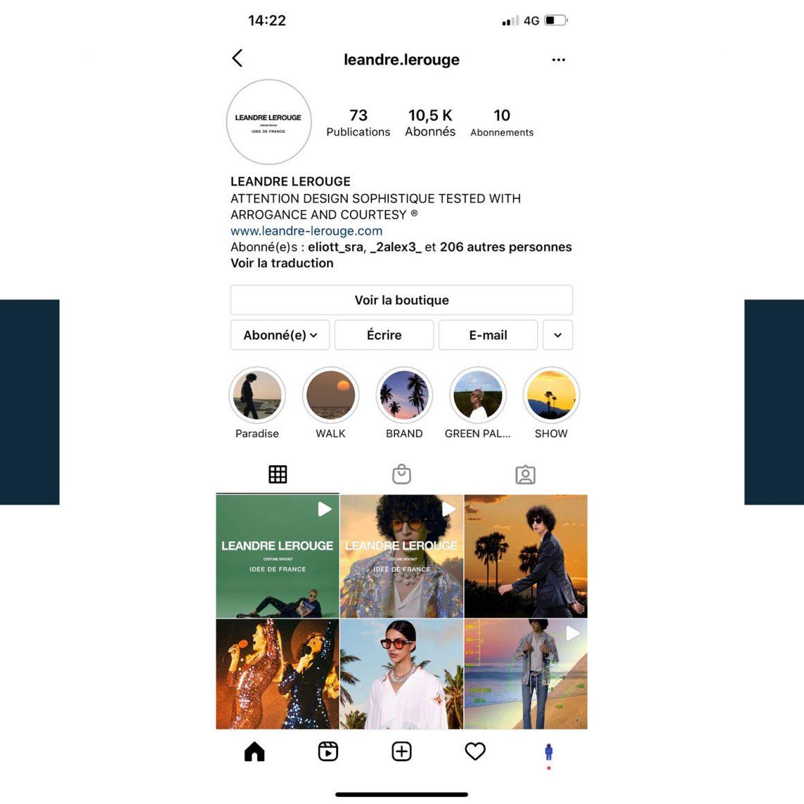 Capture d'écran du compte Instagram de la marque Leandre Lerouge