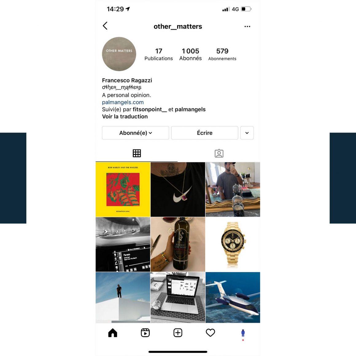 Capture d'écran du compte Instagram de Francesco Ragazzi