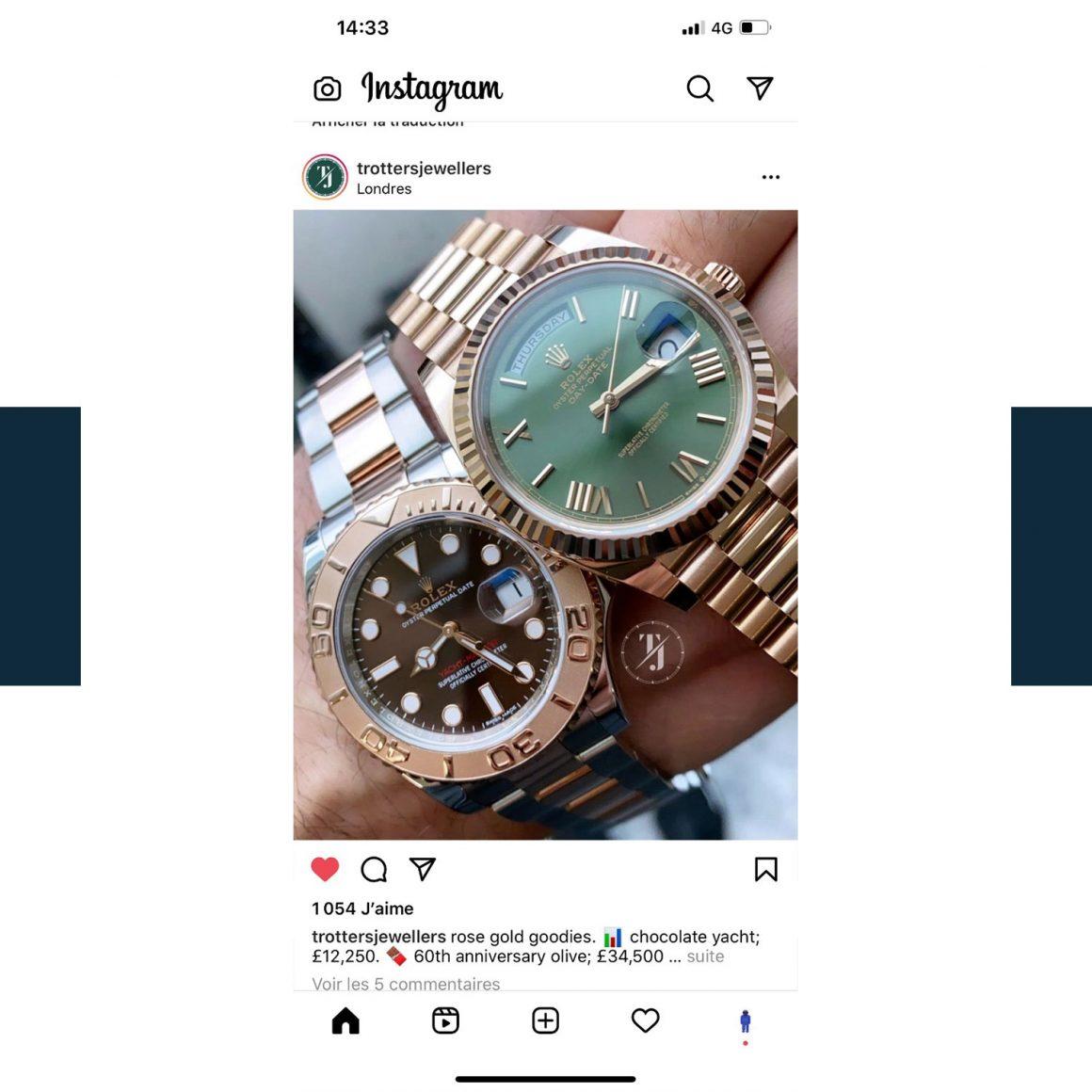 Capture d'écran du compte Instagram de la marque Trotters Jewellers