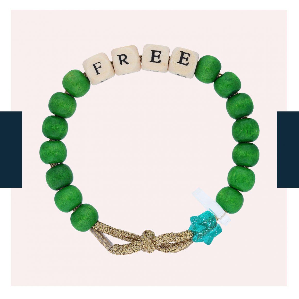 Le bracelet Love Beads « Free » à perles vertes de Lauren Rubinski