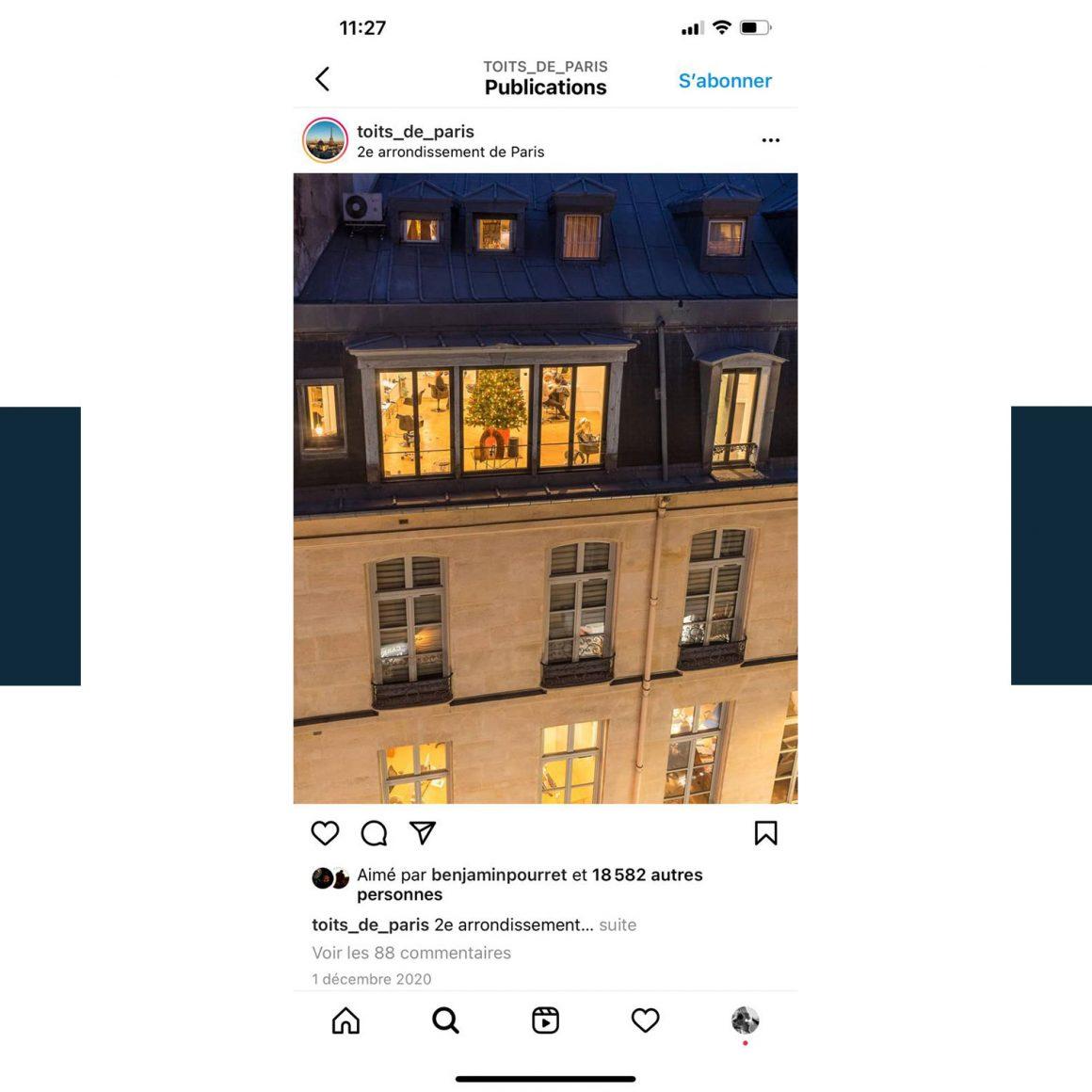 Capture d'écran du compte Instagram @toits-de-paris
