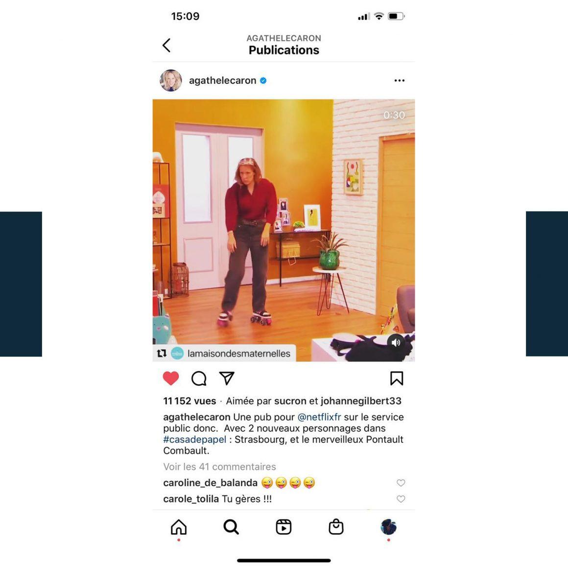 Capture d'écran du compte Instagram @agathelecaron
