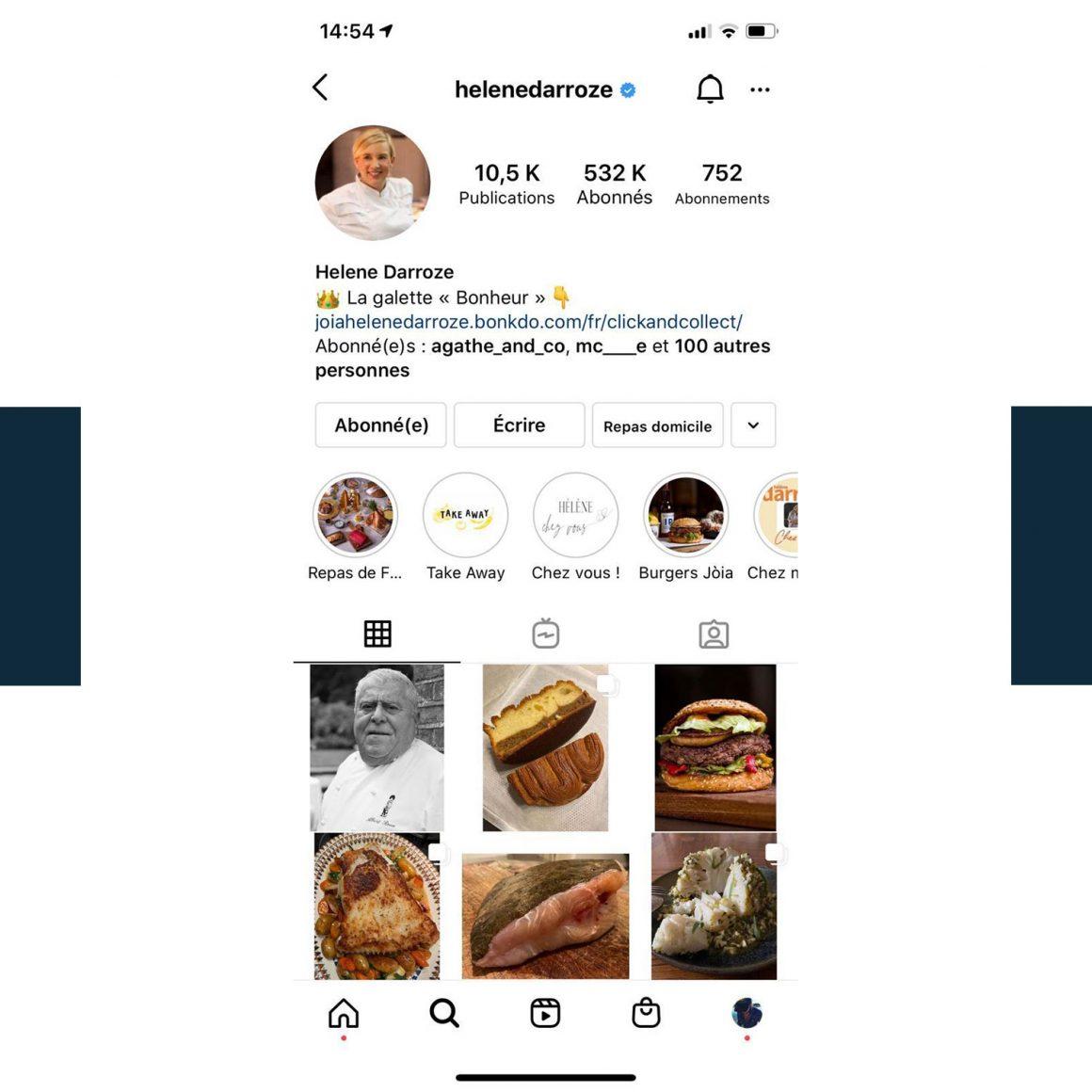 Capture d'écran du compte Instagram de la Cheffe Hélène Darroze