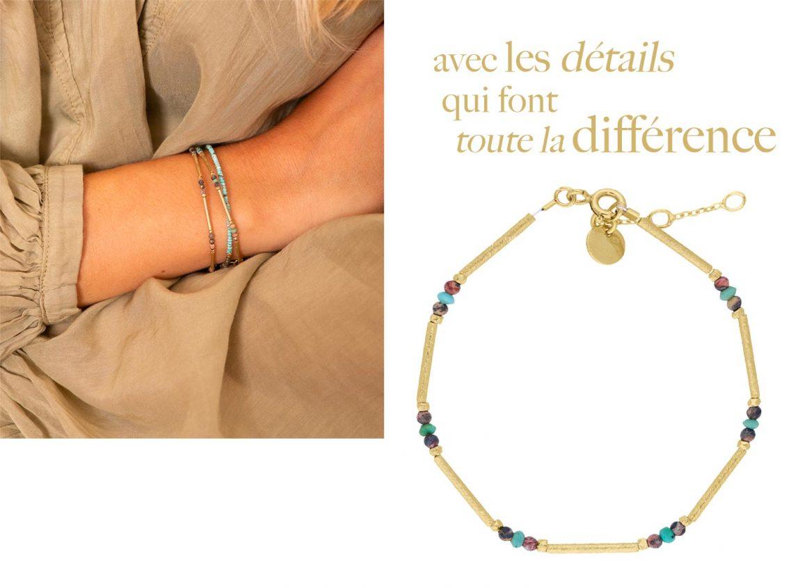 Le bracelet Ella turquoise et argent doré à l'or fin de 5 Octobre
