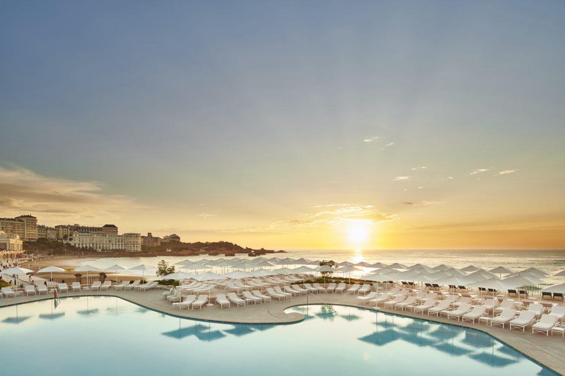Vue sur la mer depuis l'Hotel du Palais à Biarritz