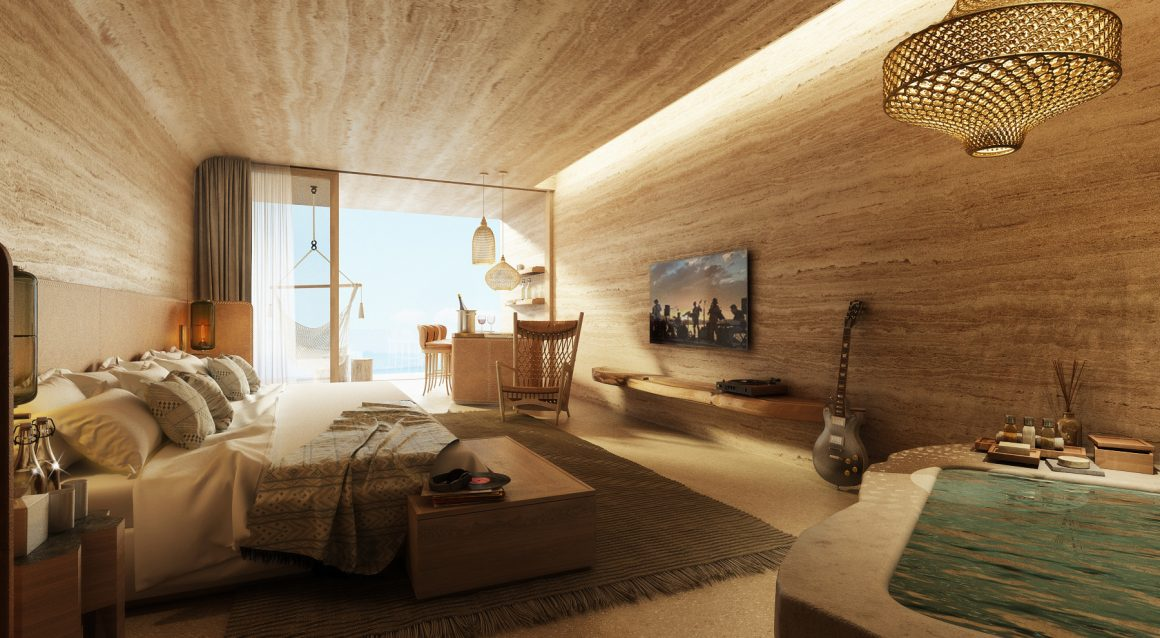 Une chambre de l'Hôtel Six Senses Ibiza